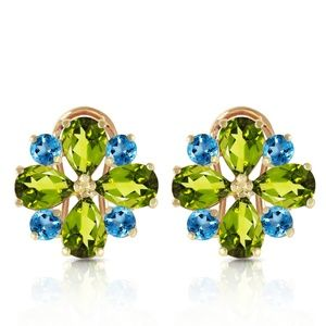 FRENCH CLIPS EARRING WITH PERIDOTS & BLUE TOPAZ